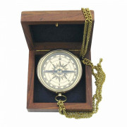 Compass with anchor in wooden box  Nr. 9033B